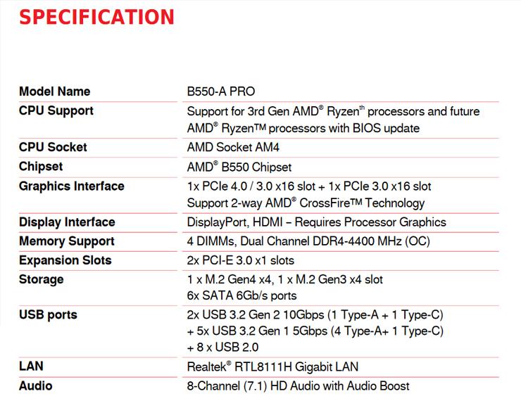 MSI B550 A-Pro