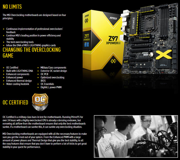 MSI Z97 XPOWER AC Overclocking Intel Motherboard