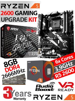 AMD RYZEN 5 2600 GAMING Upgrade Kit - MSI X370 KRAIT GAMING USB 3 1 AM4  RYZEN Motherboard + AMD RYZEN 5 2600 19MB CACHE Up to 3 9GHz CPU + 8GB DDR4