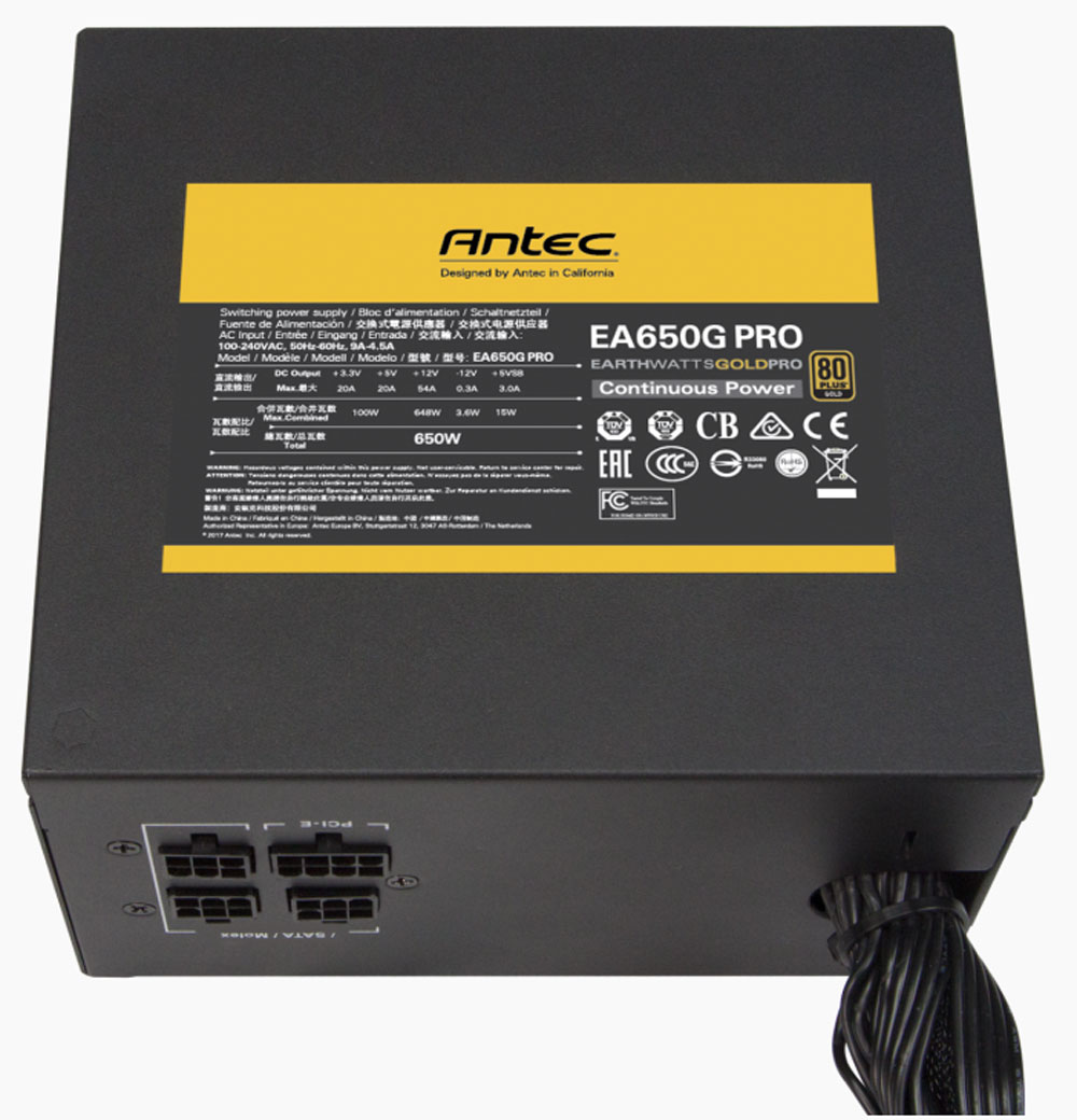 Antec EA650G 650w High Current Gold Series Power Supply / High Current  Gamer / PhaseWave Design / 120 mm FDB Fan / Heavy-duty Caps / EA650G Pro