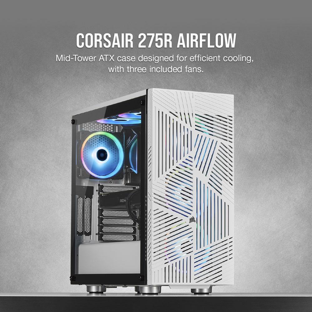 Corsair 275R Airflow Tempered Glass Gaming Case - White