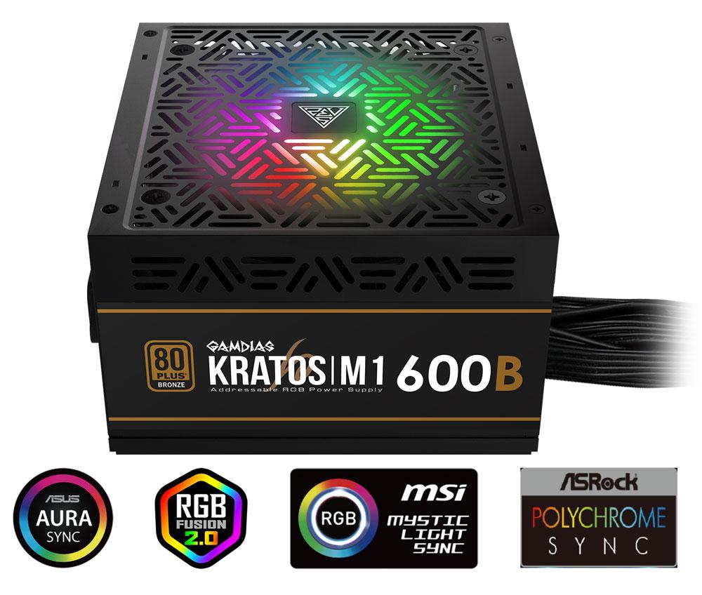 Gamdias KRATOS M1-600B RGB 600W Power Supply