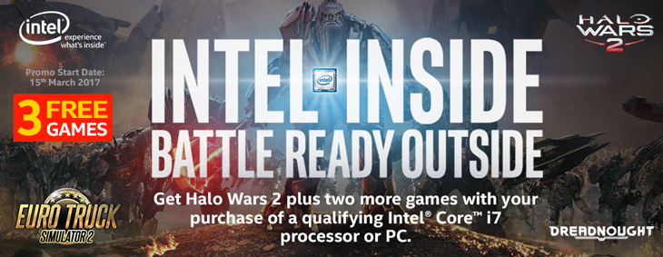 GET 3 FREE GAMES (Halo Wars 2, Dreadnought, Euro Truck Simulator 2) Worth of $150+ With  an Intel Core i7 System