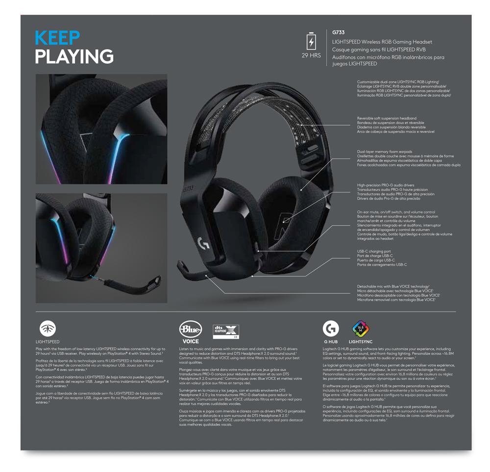 Logitech G733 Wireless Gaming Headset - Black