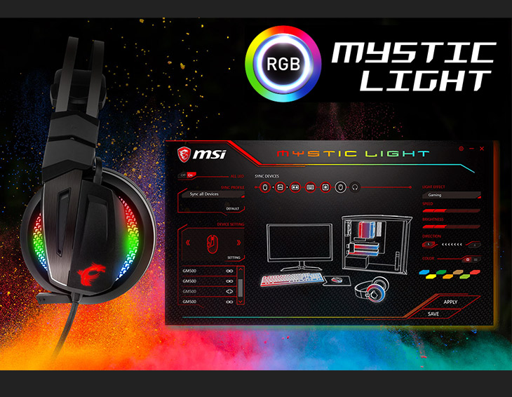 MSI IMMERSE GH70 Gaming Headset / Amazing LED Light Effect / Smart Audio  Controller / Hi-Res certification guarantees the highest sound quality the