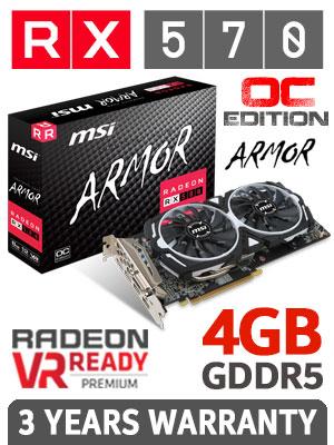 MSI Radeon RX 570 4GB Armor OC Edition GDDR5 2048 Stream Processor Graphics  Card + FREE DELIVERY !