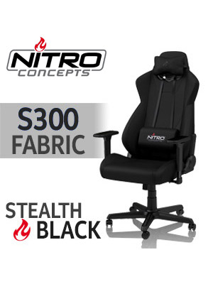 Awesome Nitro Concepts S300 Fabric Gaming Chair Stealth Black 50Mm Casters Safety Class 4 Gas Lift 3D Armrests H E A T Tuning System Max Load Lamtechconsult Wood Chair Design Ideas Lamtechconsultcom