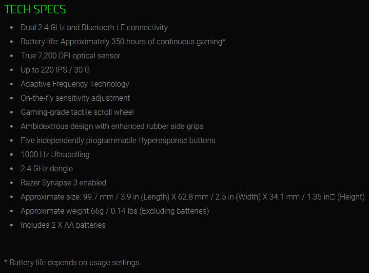 Razer Atheris Wireless Gaming Mouse
