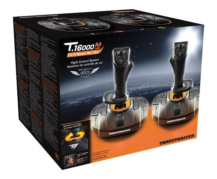 Thrustmaster T16000M FCS Joystick Space Sim Duo Pack / AccuRate Technology  / Magnetic Sensors Located On The Stick / 16 Action Buttons / Ergonomic