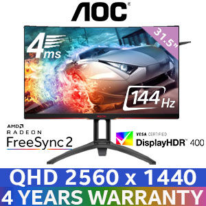 "AOC AG322QC4 31.5"" HDR 144Hz Gaming Monitor"