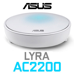 ASUS Lyra AC2200 Tri-Band Whole-Home Mesh WiFi System / 3 Tri-band 802.11AC Wi-Fi Hubs / Coverage up to 6,000 sq.ft. / AiProtection Network Security / Smart Antennas for Stable Wi-Fi / Advanced Parental Controls Featuring / MAP-AC2200