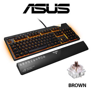 ASUS ROG Strix Flare COD Black Ops 4 Edition Gaming Keyboard - Cherry MX Brown / Aura Sync RGB Lighting / Lighting Integration / Customizable Illuminated Badge / Dedicated Media Keys For Gamers / XA01 ROG STRIX FLARE COD/BN/US