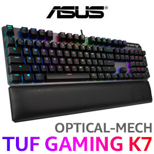 ASUS TUF Gaming K7 Opto Mechanical keyboard / TUF Optical-Mech Switches / IP56 Water & Dust Resistance / Aura Sync / fully programmable keys / RA03 TUF GAMING K7/LIN/US