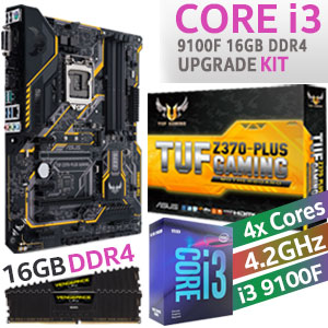 Core i3 9100F TUF Z370-Plus 16GB DDR4 Upgrade Kit