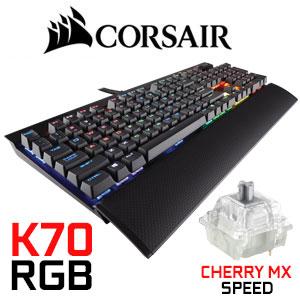 Corsair K70 RGB RAPIDFIRE Mechanical Gaming Keyboard / Cherry MX Speed RGB  / Keycaps With Brighter Lighting / Dedicated multimedia controls / USB