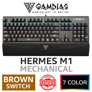 Gamdias Hermes M1 Mechanical Gaming Keyboard - Brown Switches /  Neon Light Spectrum up to 7 Colors / Quick-Attach Wrist Rest / 2x Programmable Keys / 6x Multimedia Keys / 21-key Rollover / GAMDIAS Certified Mechanical Switches / 256K Built-in Memory / HERA Software Enabled / HERMES M1 Brown