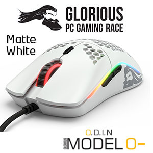 Glorious Model O Minus - Worlds Lightest RGB Gaming Mouse (Matte White Edition) / Max DPI 12,000 / HoneyComb Shell /Ascended Cord (ultra-flexible) / G-Skates Premium Mouse Feet / 58 grams / 6 Programable Buttons