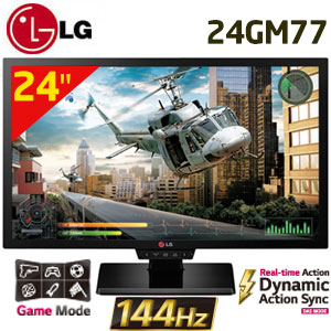 "LG 24GM77 24"" FHD 1920x1080 144Hz Gaming Monitor / Faster than 1ms response time / motion 240 / Dynamic action sync mode /  Black stabilizer / Game mode / Game pad"