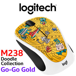 Logitech M238 Doodle Collection Go-Go Gold Wireless Mouse