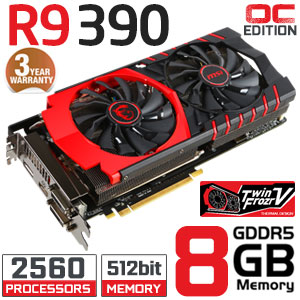 MSI R9 390 Gaming 8GB 512bit GDDR5 2560 Stream Processor Overclocked Edition Radeon Graphics Card<span style='color:blue;'>[+] GET FREE LATEST PC GAME: (DIRT RALLY)</span>