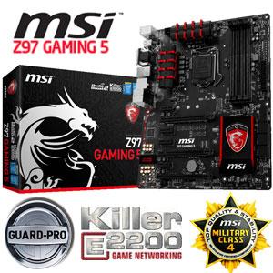 MSI Z97 GAMING 5 Gaming Motherboard / Support DDR3-3300Mhz RAM / Audio  Boost 2 / Killer Ethernet / USB Audio Power / OC Genie 4 / Click BIOS 4 /  Multi