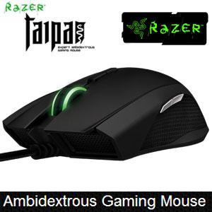 [Black] Razer Taipan Gaming Mouse / Ambidextrous design / 4G 8200dpi Laser  Sensor / ARM 32-bit processor / Green LED Lightning / Synapse 2 0
