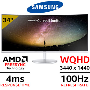 "Samsung LC34F791WQUXEN 34"" WQHD (3440 x 1440) Curved Monitor / 4ms Response Time / 178 Degree Viewing Angle / 100Hz Refresh Rate / AMD Freesync Technology / LC34F791WQUXEN"