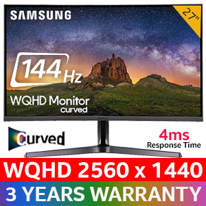 "Samsung CJG50 27"" WQHD (2560 x 1440) 144Hz Curved Gaming Monitor / 4ms Response Time / 178 Degree Viewing Angle / 16.7M Color Support / LC27JG50QQUXEN"