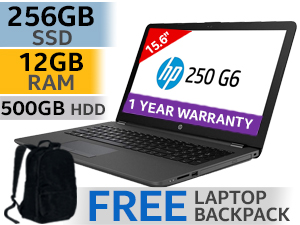 "HP 250 G6 15.6"" 7th Gen Core i5 Laptop With 256GB SSD & 12GB RAM"