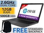 "HP 250 G6 15.6"" Intel Dual Core Laptop With 12GB RAM"