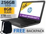 "HP 255 G6 15.6"" AMD Dual Core Laptop With 256GB SSD And 8GB RAM"