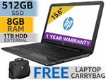 "HP 255 G6 15.6"" AMD Dual Core Laptop With 512GB SSD And 8GB RAM"