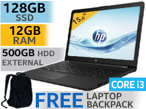 "HP Notebook 15 15.6"" Core i3 Laptop With 128GB SSD And 12GB RAM"