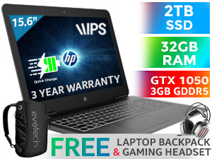 HP Pavilion 15 Core i5 GTX 1050 Laptop With 2TB SSD And 32GB RAM