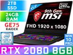 MSI GE75 9SG Core i9 RTX 2080 Laptop With 2TB SSD And 24GB RAM