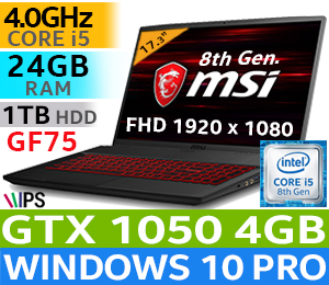 MSI GF75 8RC Core i5 GTX 1050 Gaming Laptop With 24GB RAM