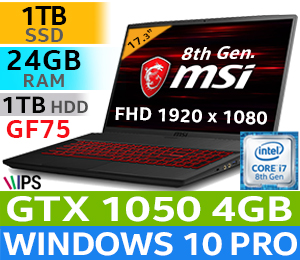 MSI GF75 8RC Core i7 Gaming Laptop With 1TB SSD And 24GB RAM