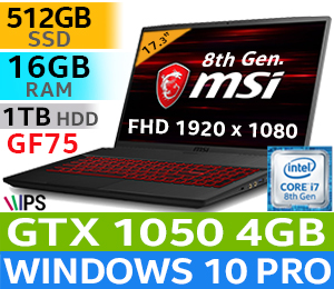 MSI GF75 8RC Core i7 Gaming Laptop With 512GB SSD And 16GB RAM