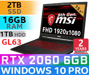 MSI GL63 9SE Core i7 RTX 2060 Gaming Laptop With 2TB SSD
