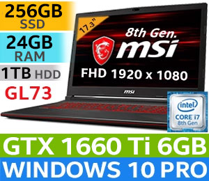 MSI GL73 8SD Core i7 Gaming Laptop With 256GB SSD And 24GB RAM