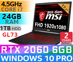 MSI GL73 9SE Core i7 RTX 2060 Gaming Laptop With 24GB RAM