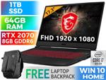 MSI GL75 Leopard 10SFR RTX 2070 Laptop With 64GB RAM & 1TB SSD