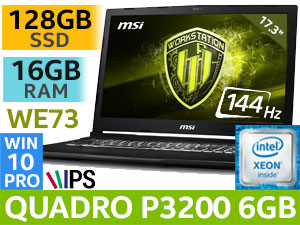 MSI WE73 8SK Xeon E P3200 Workstation Laptop With 128GB SSD
